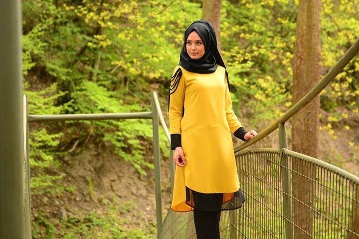 Tesettür giyimde sarı renkli kıyafetler