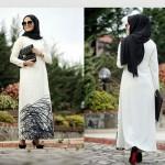 siyah beyaz tesettür elbise modelleri