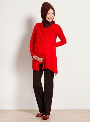 Tesettür hamile giyim kırmızı penye