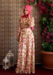 Bayramlık çiçek motifli tesettür elbiseler