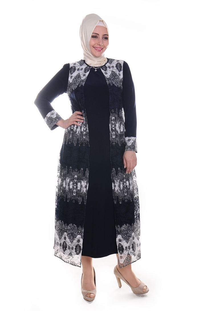 8baa263a6081a Büyük Beden Tesettür Elbise Modelleri
