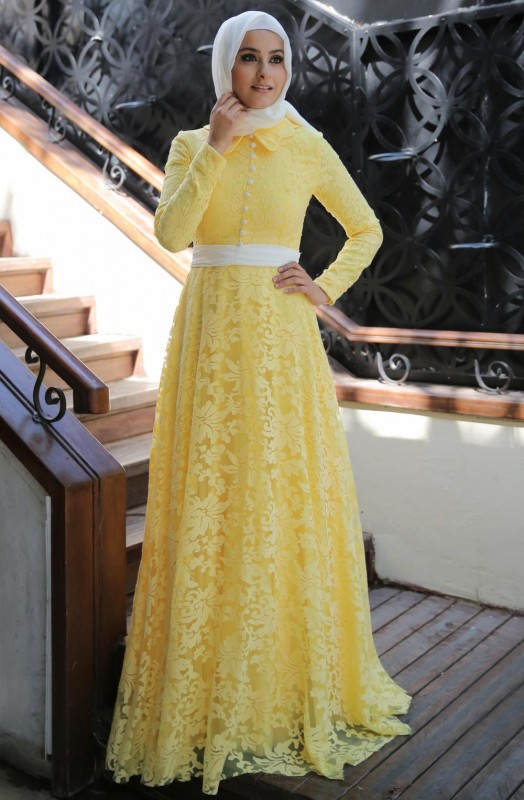 2016 sarı tesettür abiye modelleri