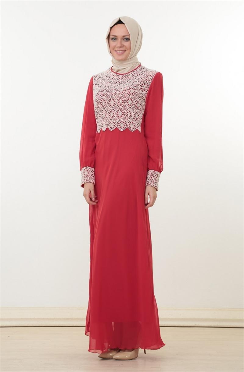 Büyük beden tesettür kırmızı elbise