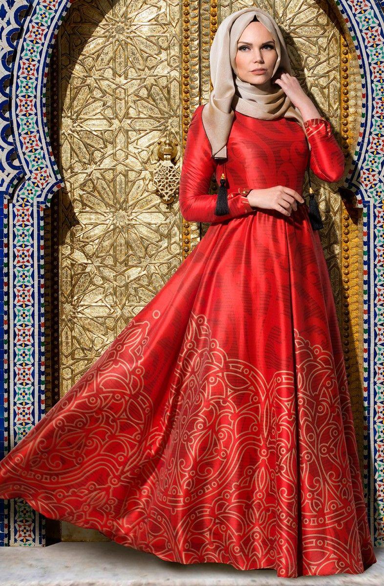 b004943cde194 Muslima Wear kırmızı abiye modeli
