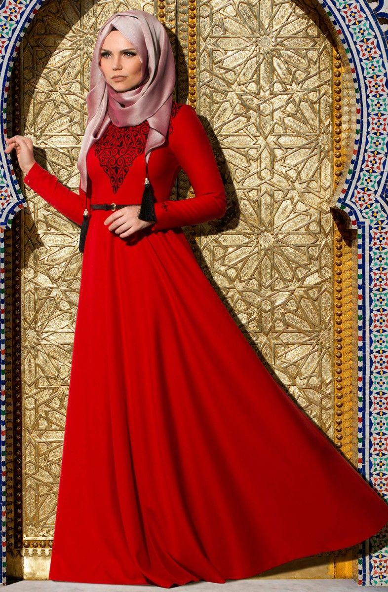 731aec568b115 Muslima Wear kırmızı tesettür abiye modelleri