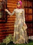 Uzun boy desenli tesettür elbise modelleri