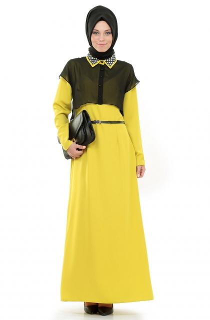 Puane sarı tesettür elbise