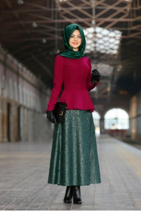 Tesettür deri etek Pınar Şems