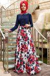 Çiçekli genç tesettür elbise