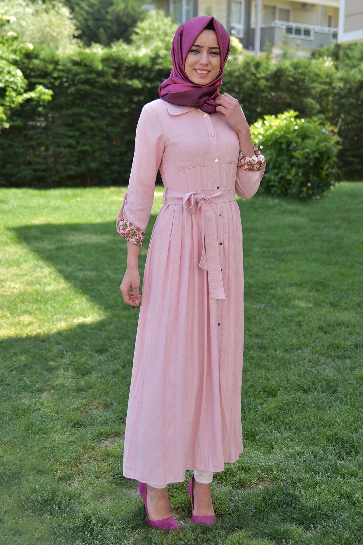 Yazlık tesettür elbise kombini