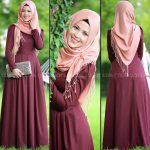 Rabia Şamlı rose bordo elbise