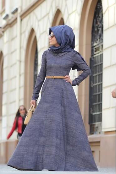 Kadife tesettür elbise 2017