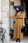 Püskül detaylı uzun kadife elbise