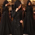 Pınar Şems siyah tesettür gece elbisesi