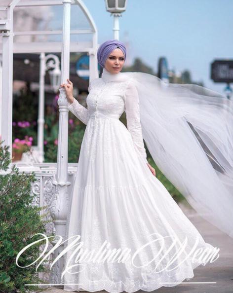 Muslima Wear 2017 beyaz abiye