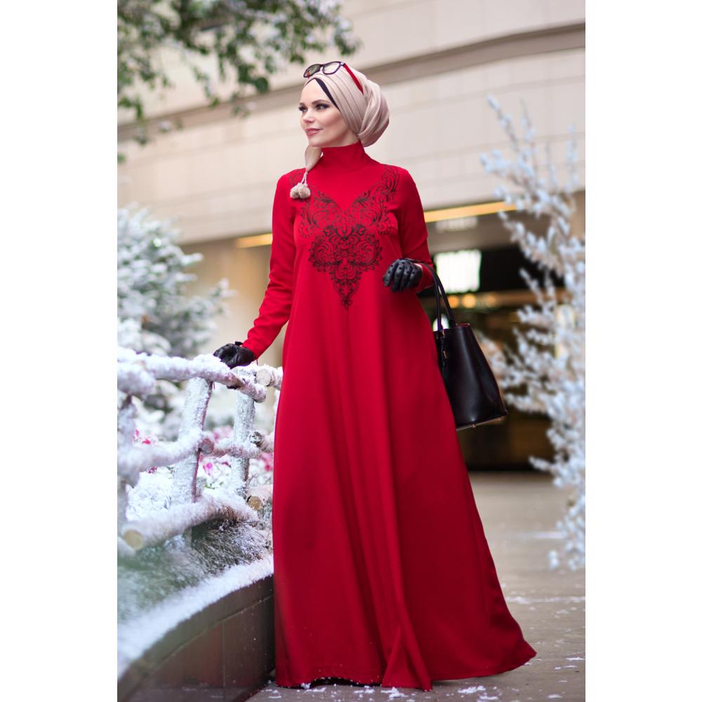 Muslima Wear kırmızı 2017 elbise