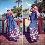 Yazlık vintage tesettür elbise