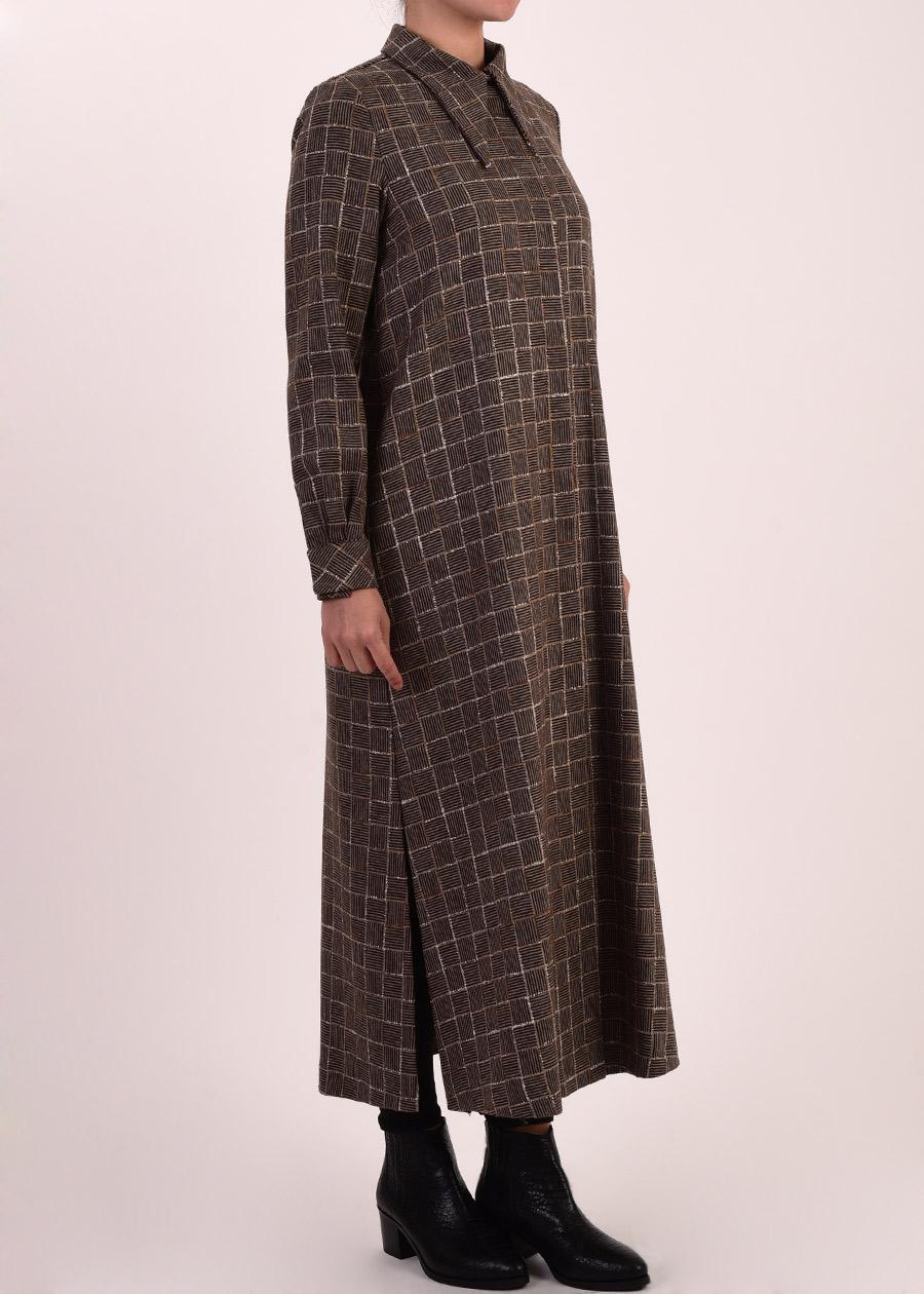 Armağan Giyim kareli pardesü