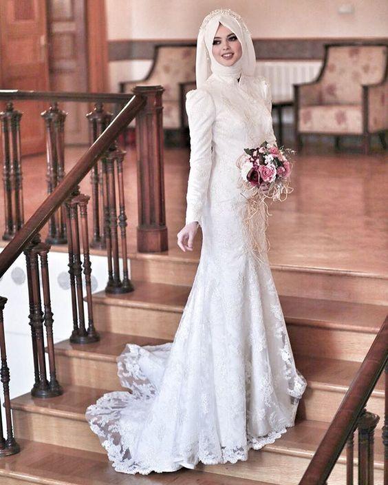 Balık kesim tesettür nikah elbisesi