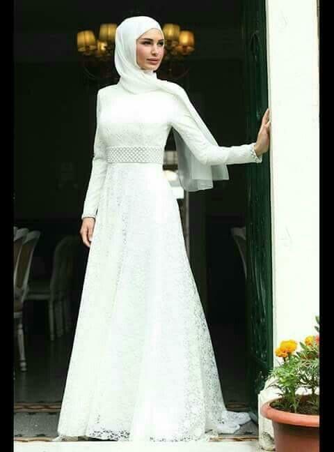 Kemer detaylı beyaz nikah elbisesi