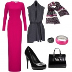 Siyah çanta ayakkabı fuşya elbise kombini