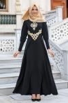 Siyah işlemeli elbise şal uyumu