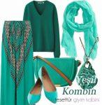 Yeşil etek bluz çanta kombini