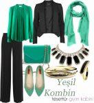 Yeşil klasik bluz kombini