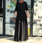 Siyah tam boy tesettür elbise