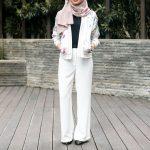 Tesettüre uygun beyaz pantolon kombin