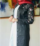 Nakışlı siyah kot ceket