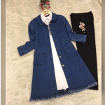 Püsküllü kot ceket