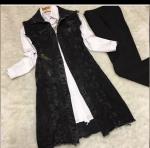 Siyah kot yelek kombini