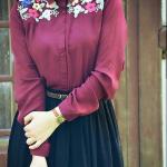 Vintage çiçekli gömlek etek