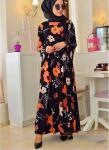 Büyük çiçekli şifon elbise