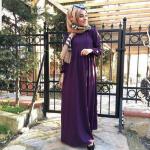 Robalı kapalı elbise