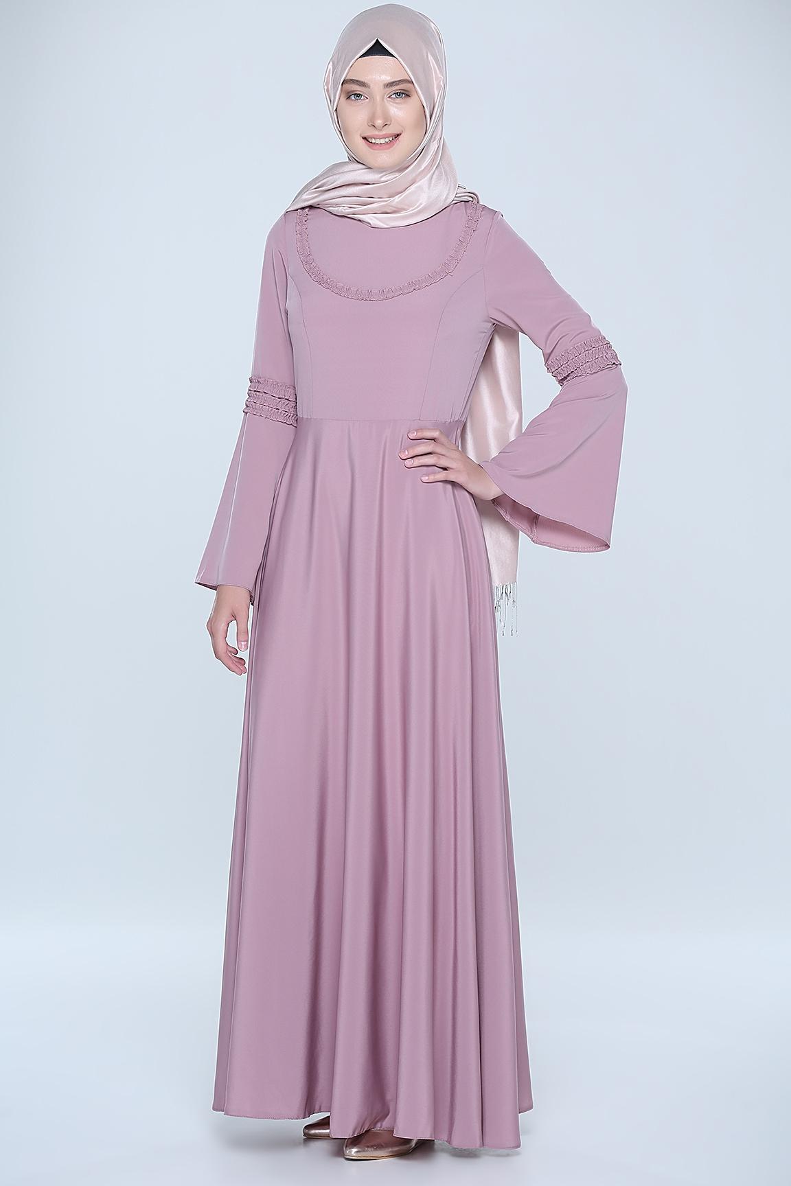 Tozlu Kol detaylı elbise