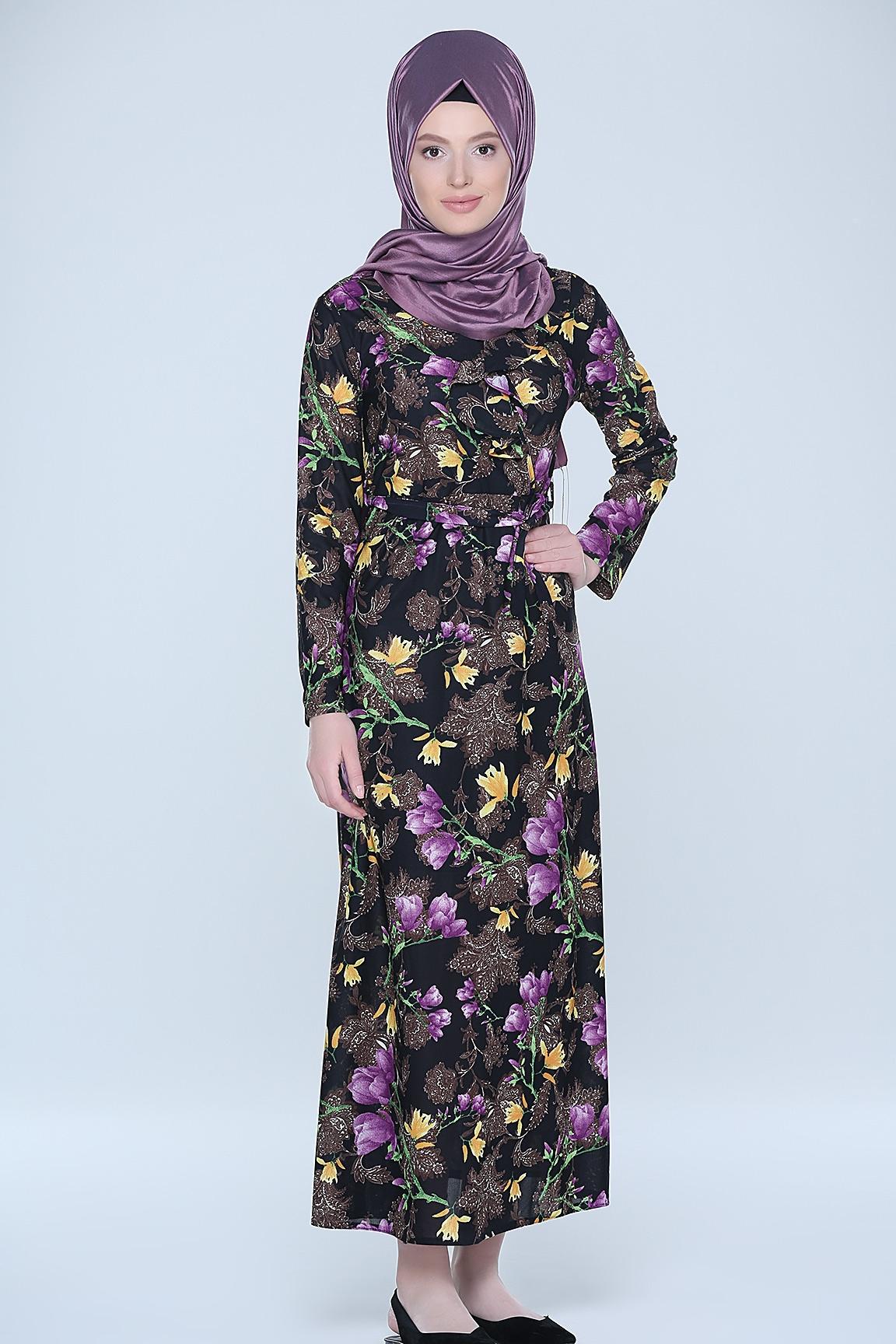 Tozlu çiçek deseli tesettür elbise