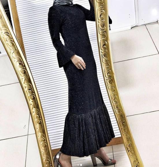 Plise detaylı simli elbise