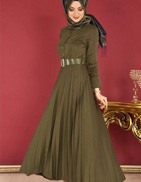 Pliseli simli tesettür elbise