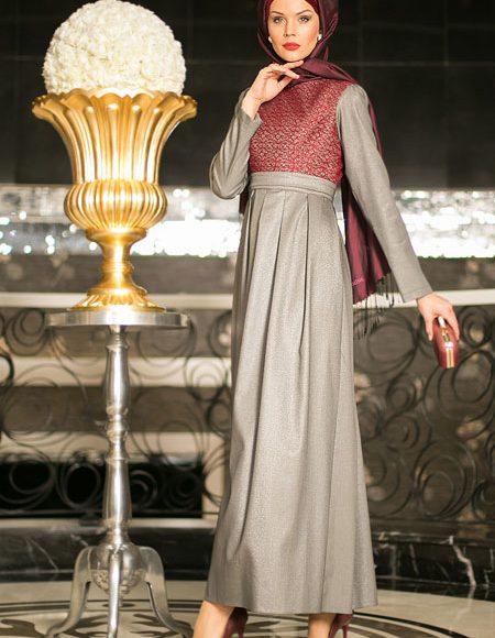 Simli tesettür abiye elbise