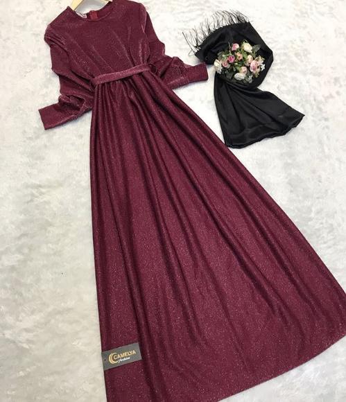 Simli tesettür elbise 2018