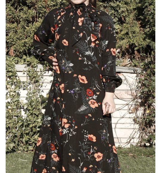 13-14-15-16 yaş tesettür çiçekli elbise