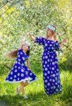 anne kız kombini mavi elbise