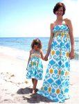 anne kız plaj elbise kombini