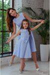 2020 anne kız mavi elbise kombini