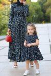 anne kız siyah tesettür elbise 2020